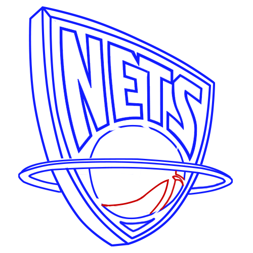 Learn easy to draw new jersey nets step 09