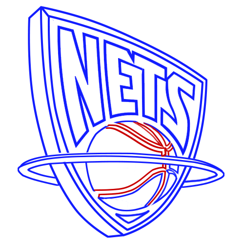 Learn easy to draw new jersey nets step 10