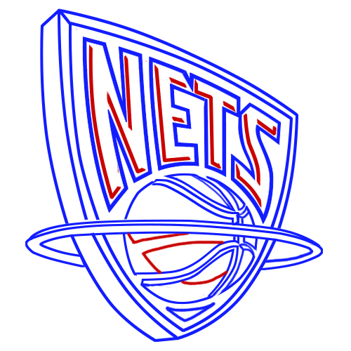 Learn easy to draw new jersey nets step 11