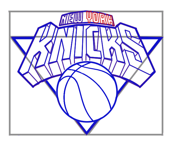 Learn easy to draw new york knicks step 07
