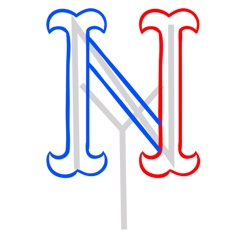 Learn easy to draw new york mets step 04