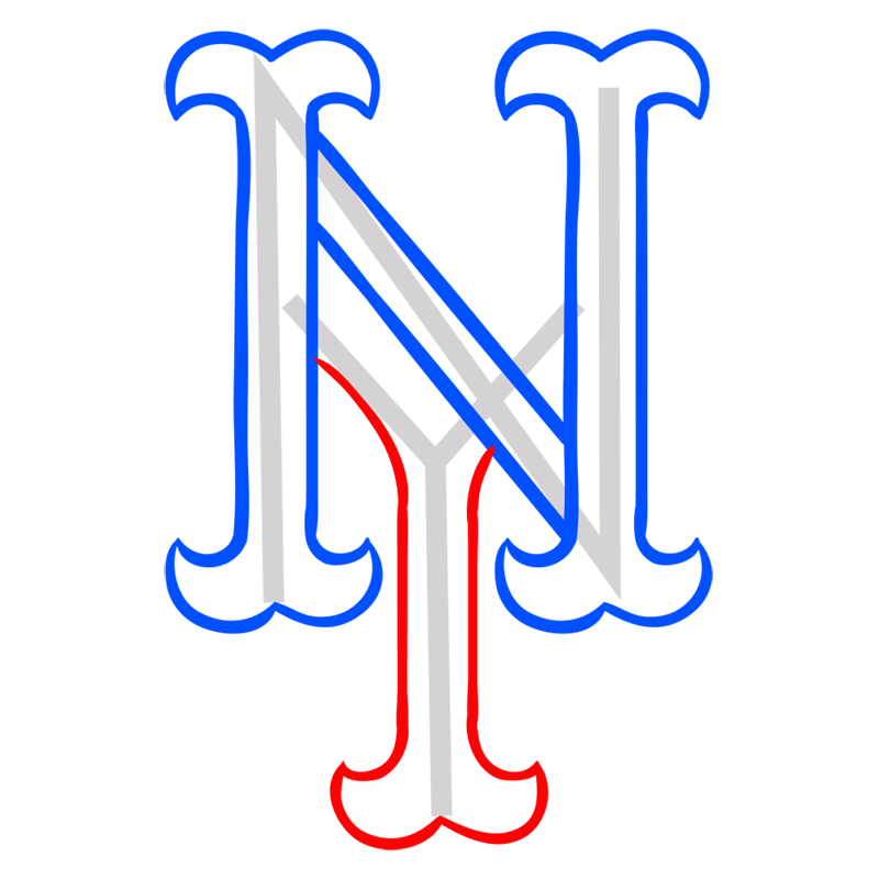 Learn easy to draw new york mets step 05