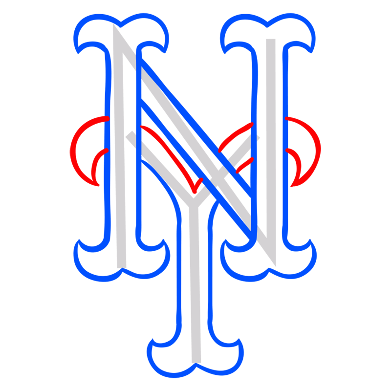 Learn easy to draw new york mets step 06