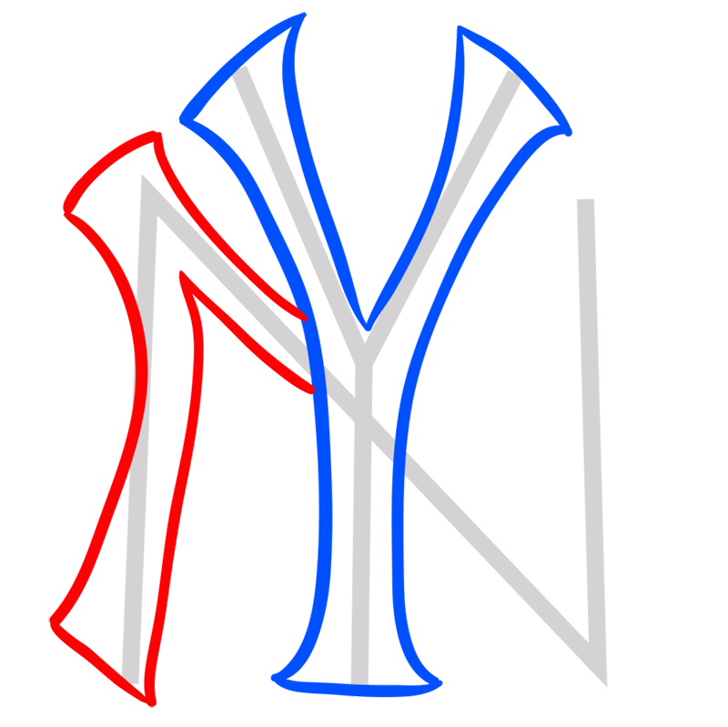 Learn easy to draw new york yankees step 04