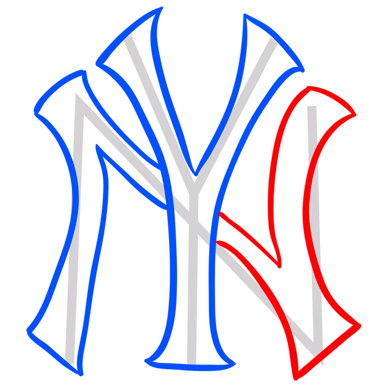 Learn easy to draw new york yankees step 05