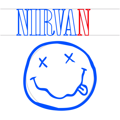 Learn easy to draw nirvana step 10