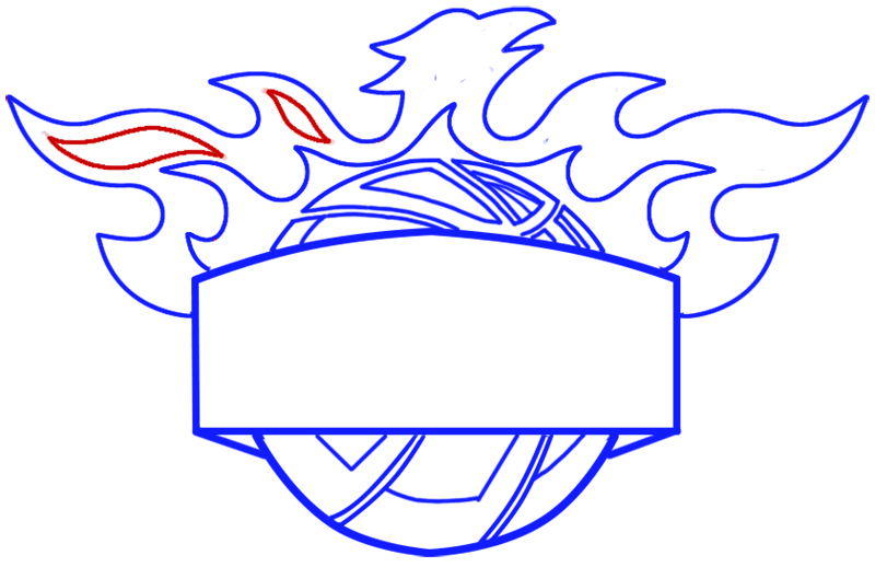Learn easy to draw phoenix suns step 08