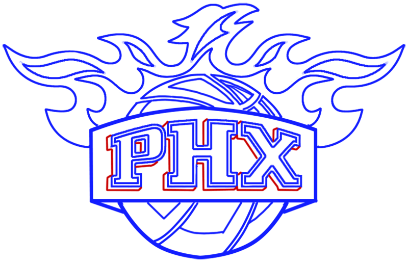 Learn easy to draw phoenix suns step 12