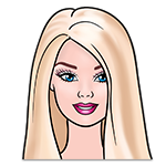 Learn easy to draw portret of barbie icon