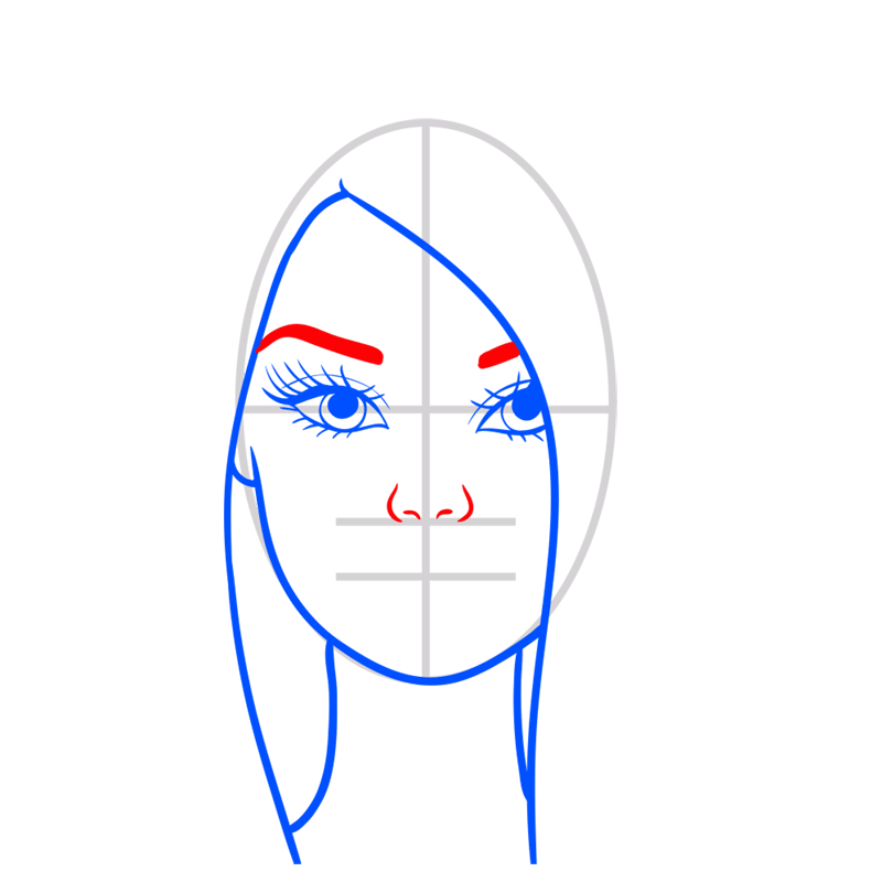 Learn easy to draw portret of barbie step 05