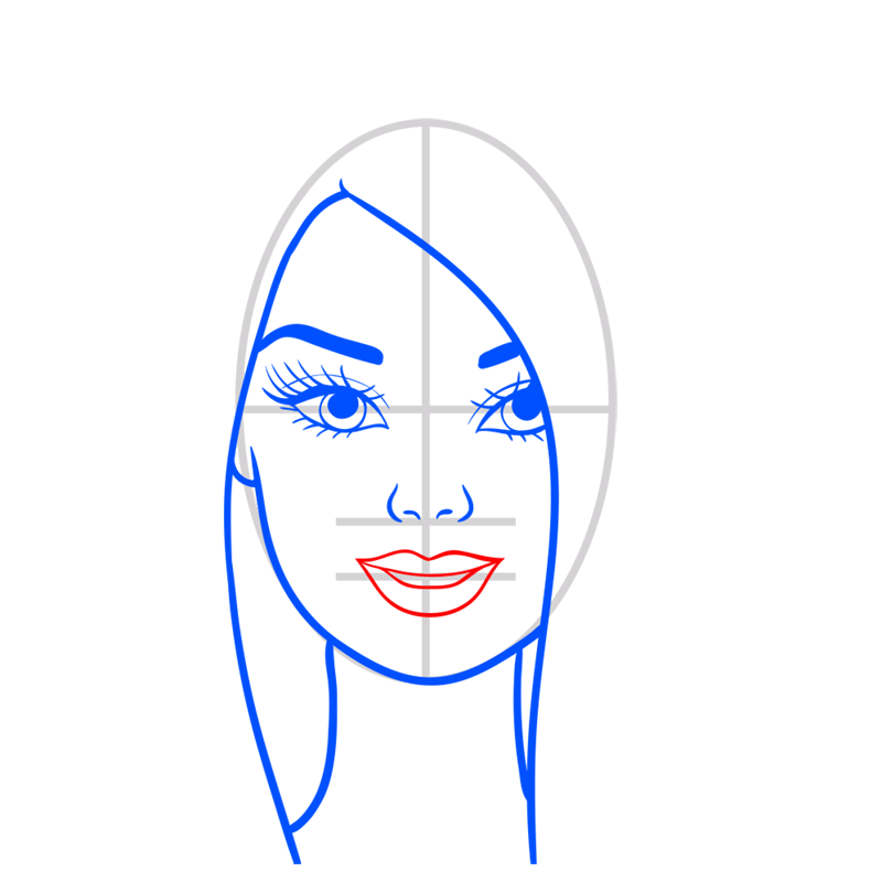 Learn easy to draw portret of barbie step 06