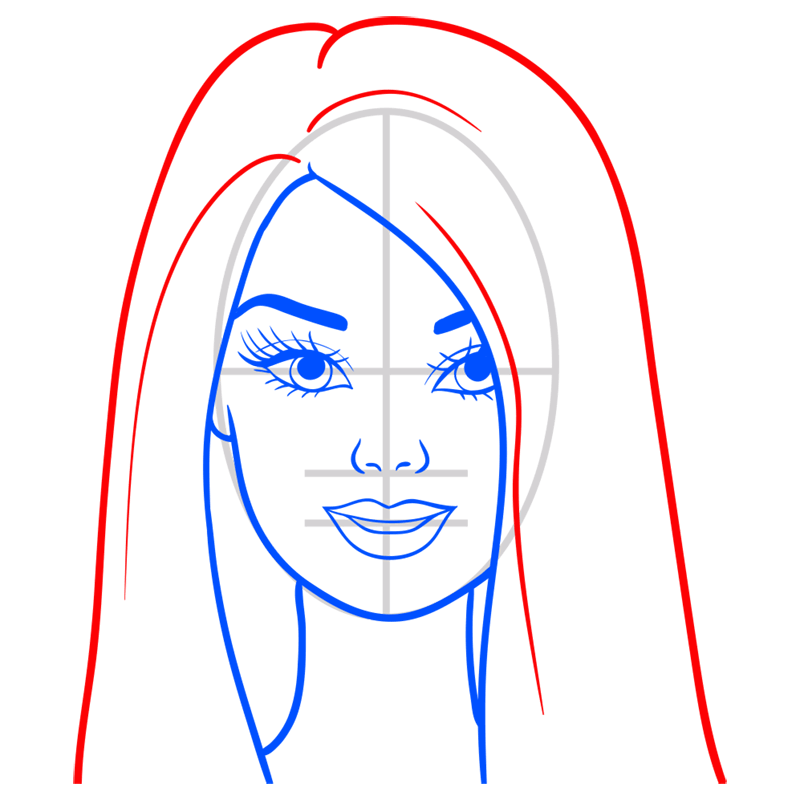 Learn easy to draw portret of barbie step 07