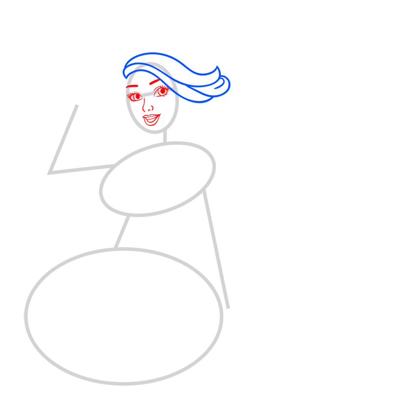 Learn easy to draw princess courtney step 03