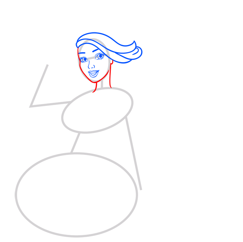 Learn easy to draw princess courtney step 04