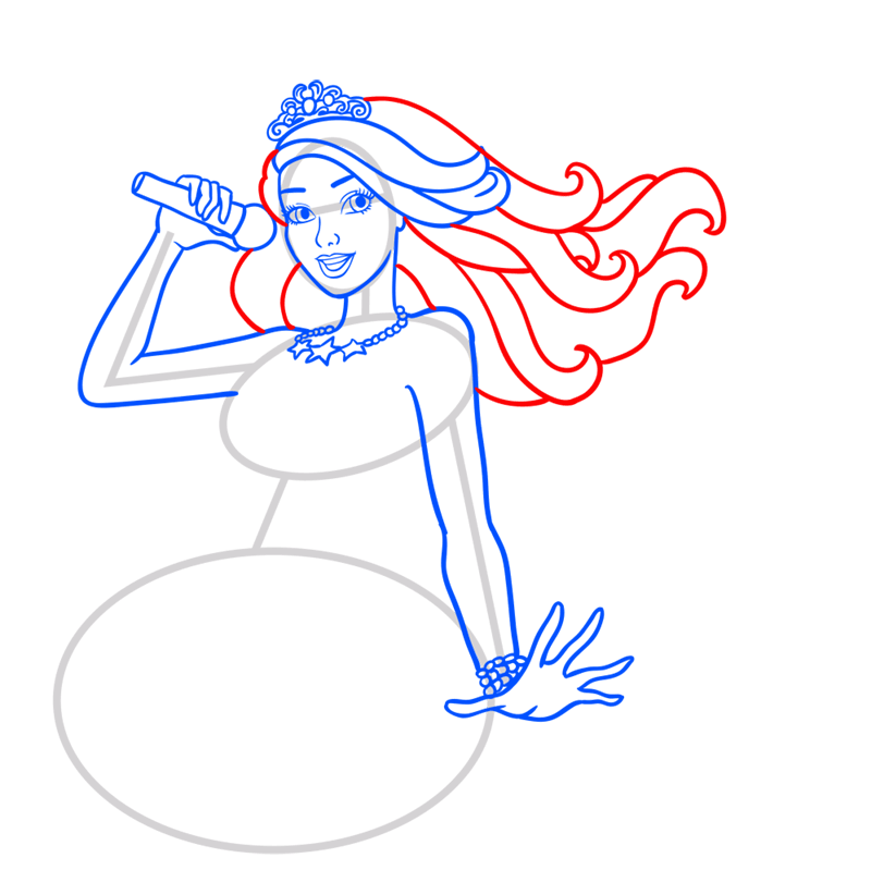 Learn easy to draw princess courtney step 08