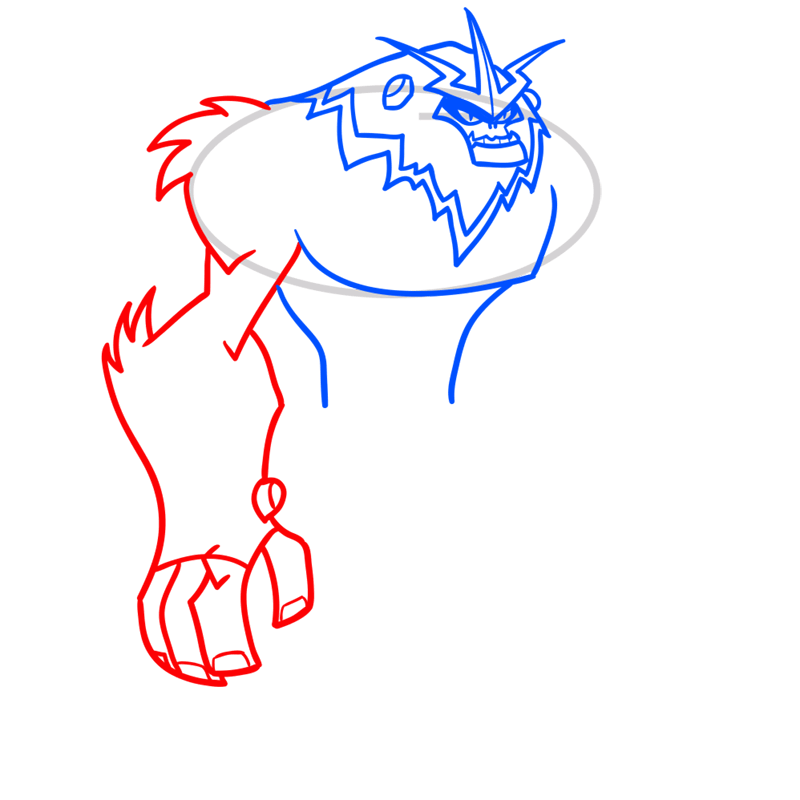 Learn easy to draw shockquatch step 04