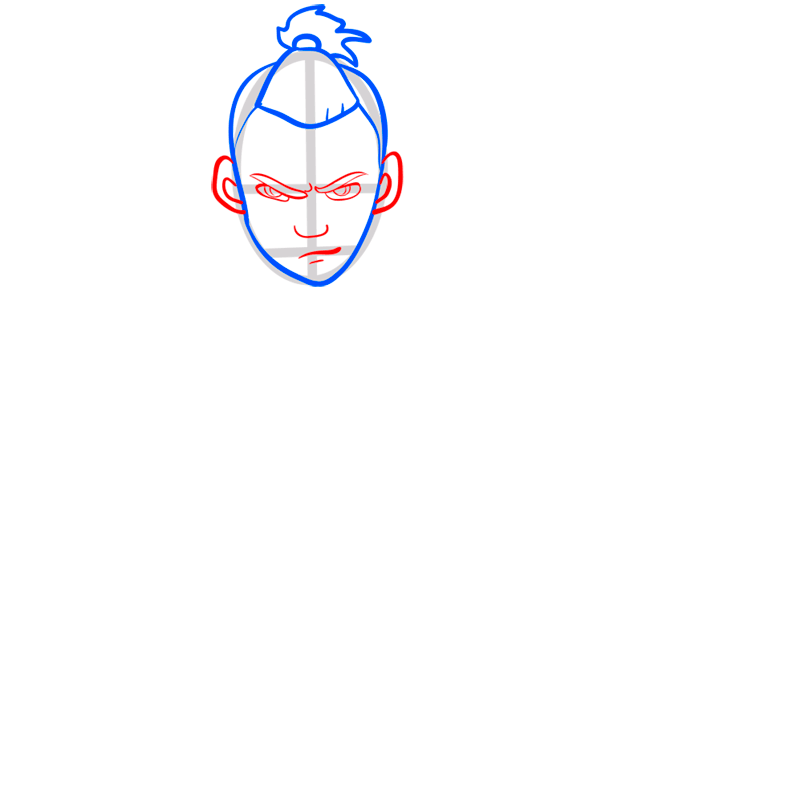 Learn easy to draw sokka step 04
