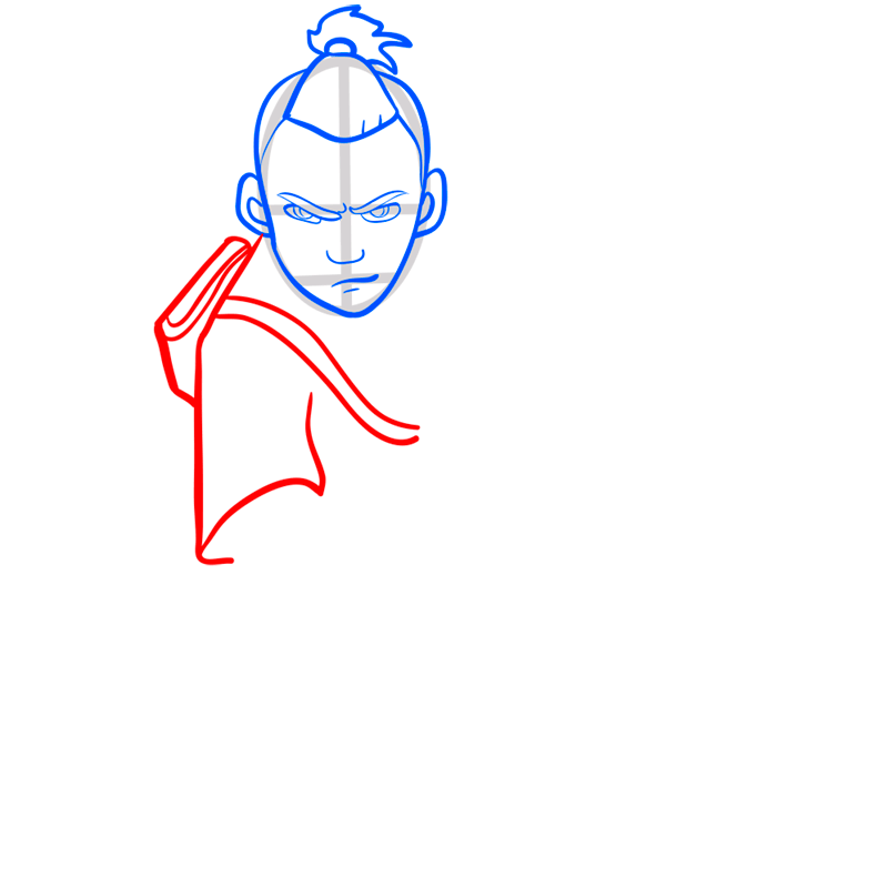 Learn easy to draw sokka step 05