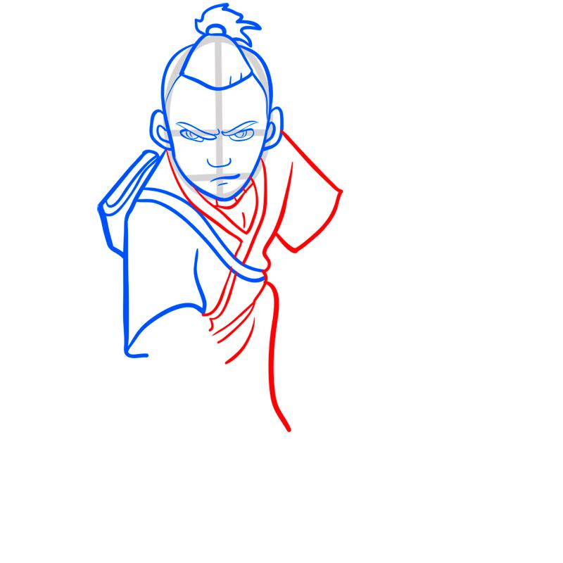 Learn easy to draw sokka step 06