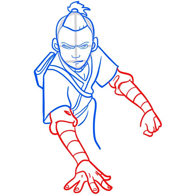 Learn easy to draw sokka step 07