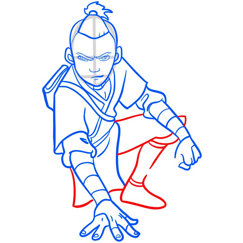 Learn easy to draw sokka step 08