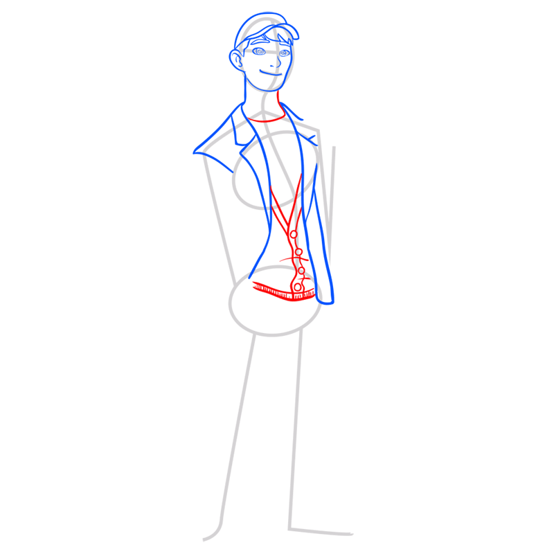 Learn easy to draw tadashi step 06