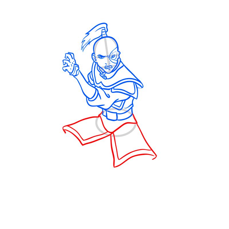 Learn easy to draw zuko step 08