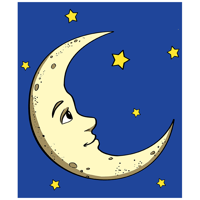 Learn easy to draw easy to draw moon step by step drawings 10