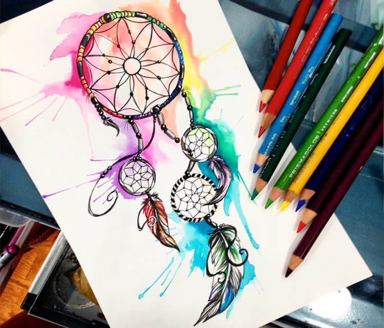 Dream catcher with falling feathers drawing 0