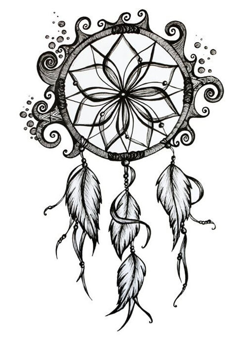 Learn easy to draw dream catcher with falling feathers drawing 1
