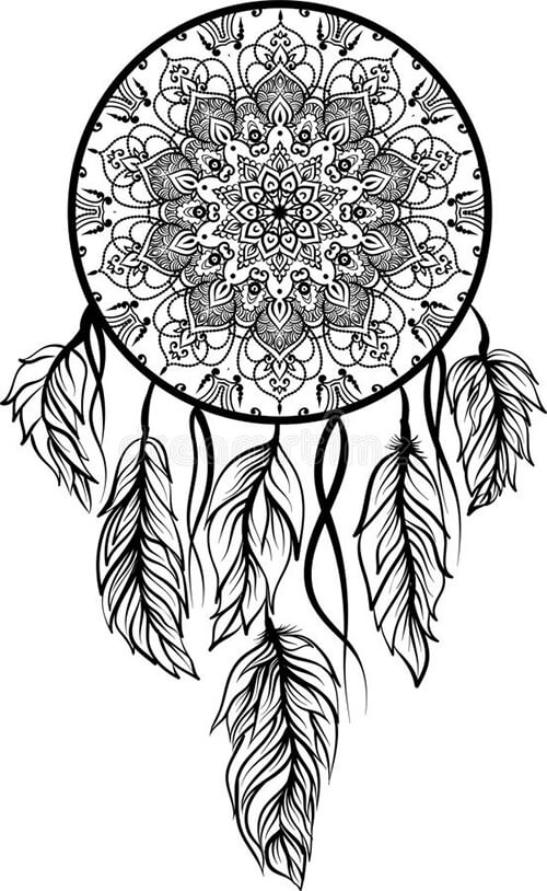 Learn easy to draw dream catcher with falling feathers drawing 10