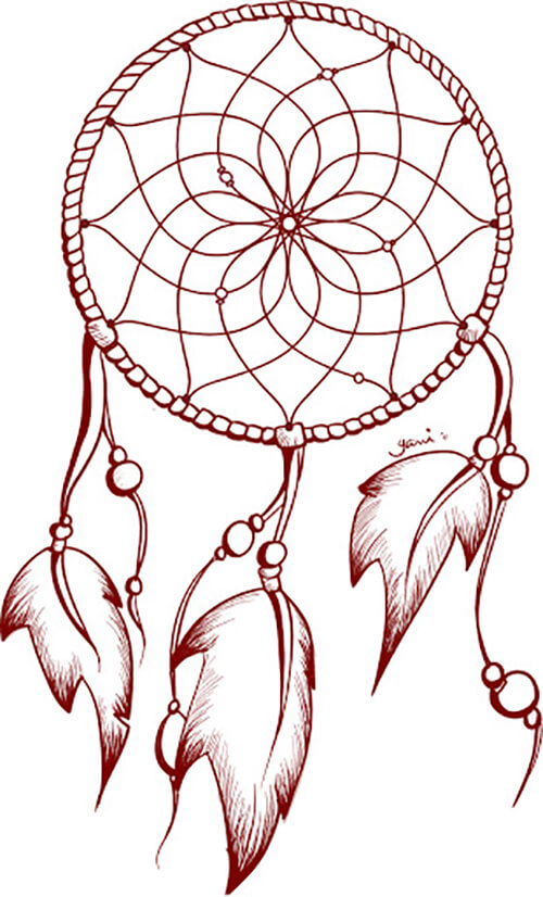 Learn easy to draw dream catcher with falling feathers drawing 12