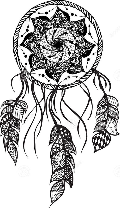 Learn easy to draw dream catcher with falling feathers drawing 13