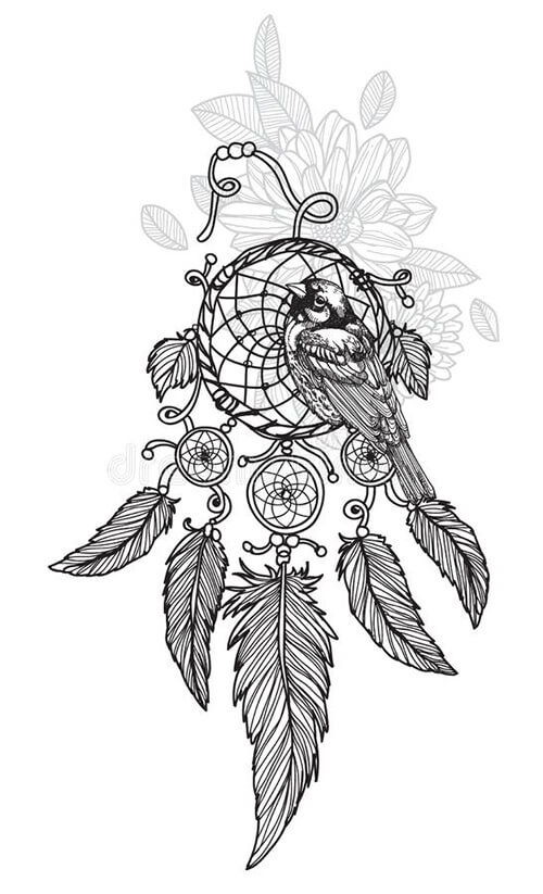 Learn easy to draw dream catcher with falling feathers drawing 14