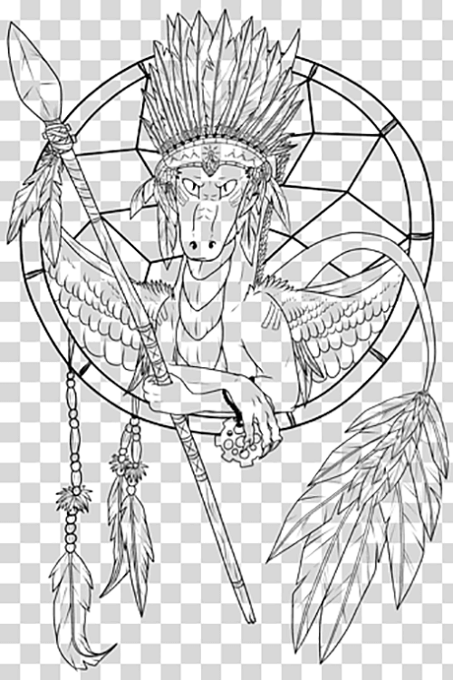 Learn easy to draw dream catcher with falling feathers drawing 16