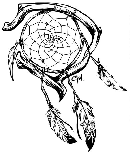 Learn easy to draw dream catcher with falling feathers drawing 17