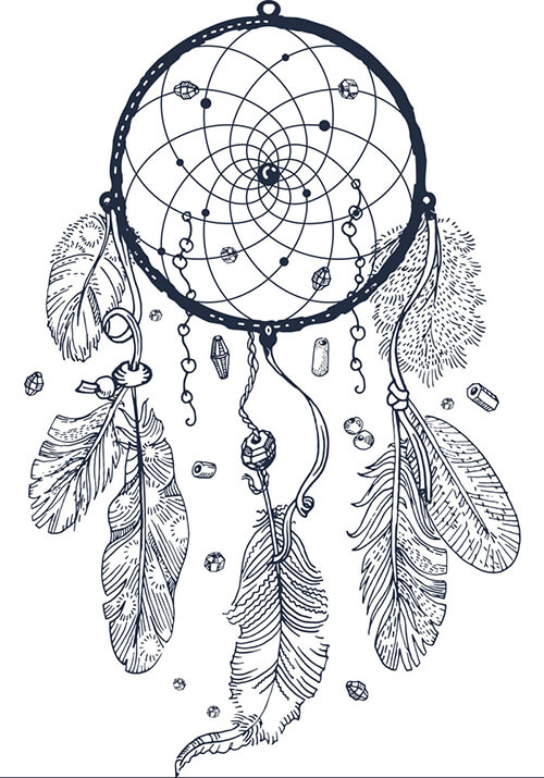 Learn easy to draw dream catcher with falling feathers drawing 2