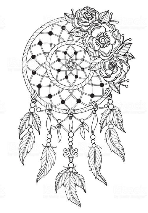 Learn easy to draw dream catcher with falling feathers drawing 5