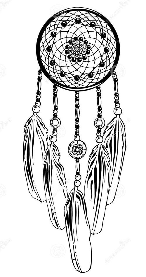 Learn easy to draw dream catcher with falling feathers drawing 6