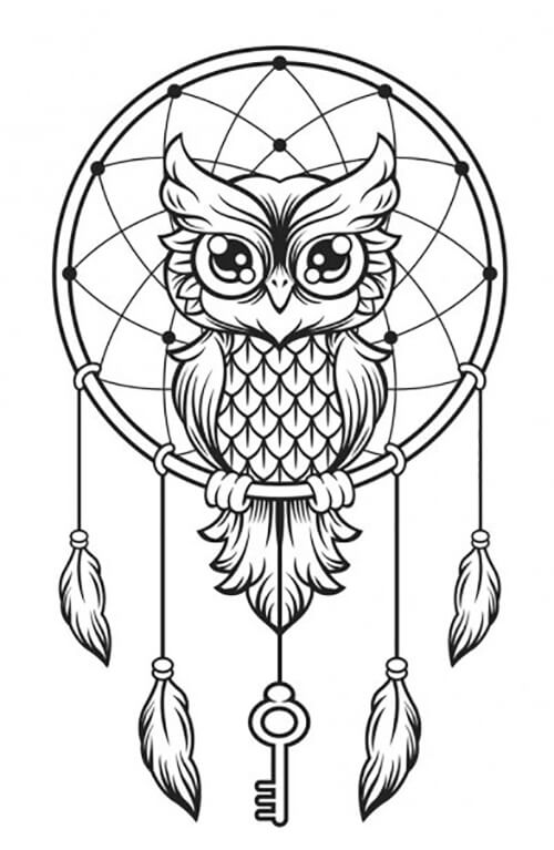 Learn easy to draw dream catcher with falling feathers drawing 7