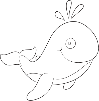 Learn easy to draw how easy to draw a funny whale 9
