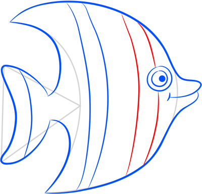 Learn easy to draw how easy to draw a striped fish 6