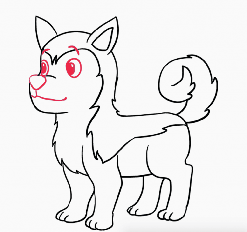 Learn easy to draw how to draw a siberian husky dog 9 1024x959