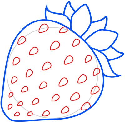 Learn easy to draw how to draw a strawberry 6