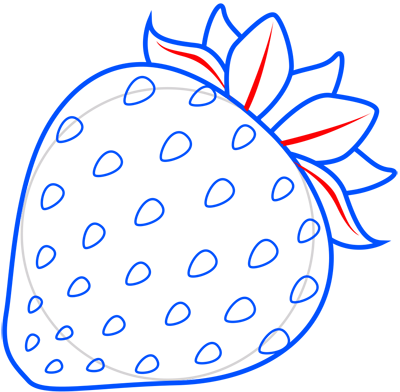 Learn easy to draw how to draw a strawberry 7
