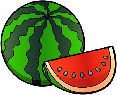 [Fruits and Berries Drawings] How to draw a Watermelon