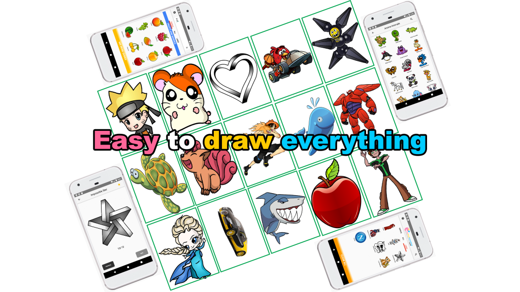 Learn easy to draw 4096x2304 banner for app 1024x576