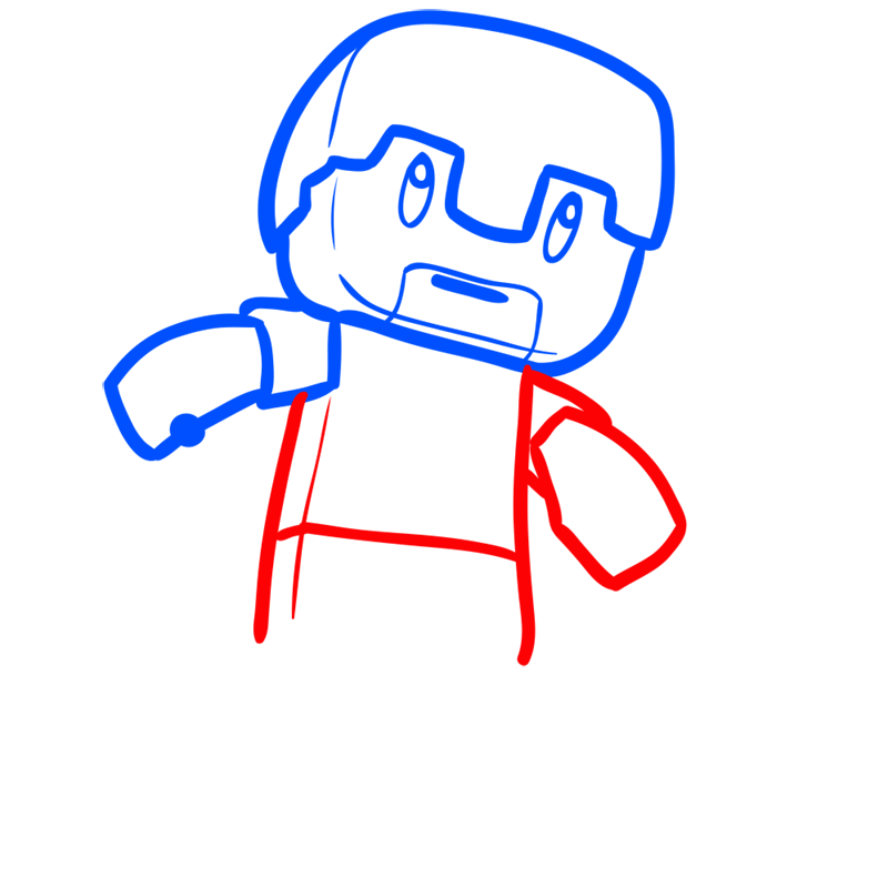 Learn easy to draw how to draw human minecraft chibi 5