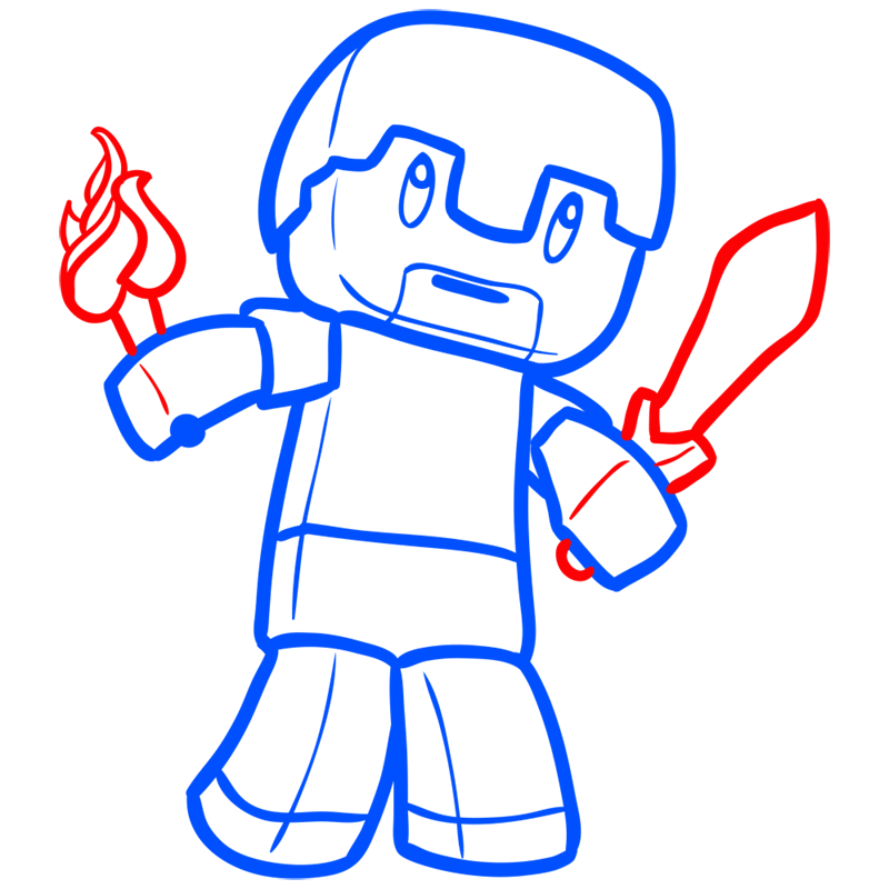 Learn easy to draw how to draw human minecraft chibi 7