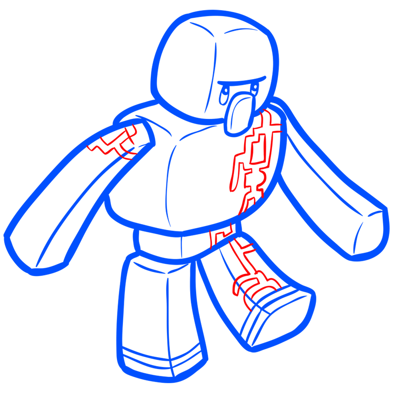 Learn easy to draw how to draw iron golem minecraft chibi 7